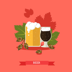 Vector illustration of two beer mugs with hops