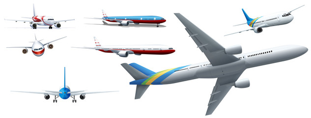 Different design of airplanes