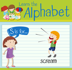Flashcard letter S is for scream