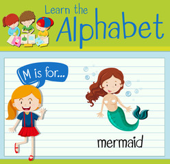Flashcard letter M is for mermaid