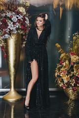 Beautiful brunette girl posing in black dress