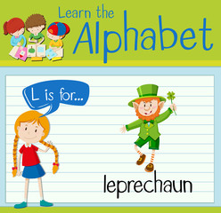 Flashcard letter L is for leprechaun