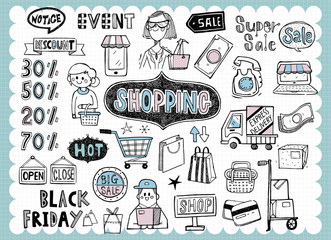 Hand drawn shopping and sale B
