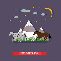 Three wild horses gallop through the mountains