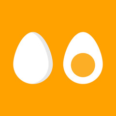 The egg in the shell and half the egg. Eggs isolated on background. Cartoon flat design