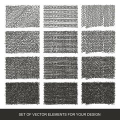 Set drawing gradient texture brushes. Hand-drawn abstract design