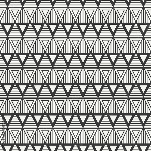 Geometric Line Monochrome Abstract Hipster Seamless Pattern With Triangle Wrapping Paper Scrapbook Print