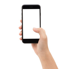 Close-up hand holding phone white screen isolated on white backg
