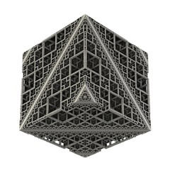 An isolated cube build out of recursive cube stages on white background. (3D Rendering)