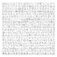 400 Line Icons - Business, Shopping, School Supplies, Medical, Gambling, Multimedia, Computer, Network, Home Appliance, Travel, Winter, Weather, Ecology, Car Parts, Tools, Industry, Baby, Buildings
