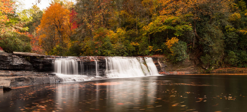 waterfall in autumn in the Appalachians of western North Carolina