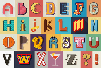 Mixed vintage and retro alphabet