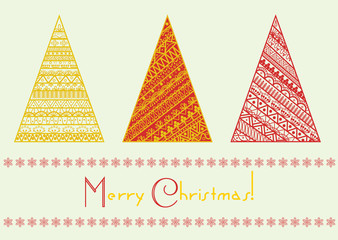 Vector christmas tree set with geometrical line pattern elements. Marry christmas and Happy New Year holiday ornament.