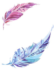 Blue and violet watercolor feathers with blank space between, greeting card or invitation layout
