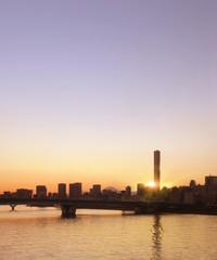 豊洲の夕暮れに形を表す富士山と超高層ビルSkyscraper and Fuji Mountain in sunset