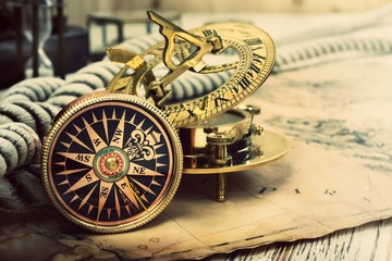 Fototapete - Old compass and vintage map. Retro style.