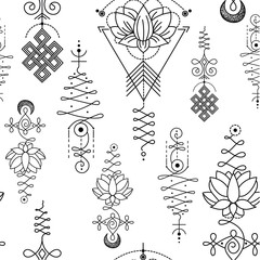Unalome & lotus Sacred symbol