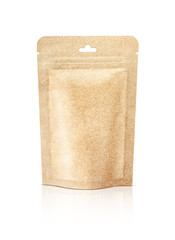 blank packaging recycle kraft paper pouch isolated on white back