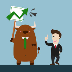 businessman and cute big brown bull in stock market green graph going up arrow