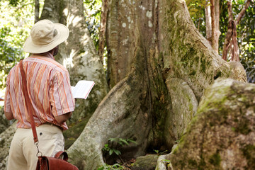 Rear view of Caucasian male biologist wearing hat and leather bag exploring jungle in tropical country, standing in front of big tree, holding notebook and making notes while examining plant