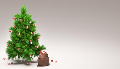 Albero di natale decorato con palline rosse e sacco di regali render