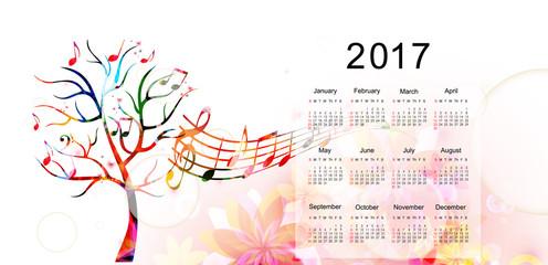 Calendar planner 2017 design template with colorful tree. Calendar poster, week starts Sunday. Calendar organizer. Calendar isolated, vector illustration background. Monthly calendar layout