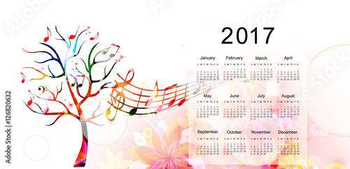 Calendar Planner 2017 Design Template With Colorful Tree Calendar