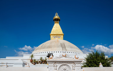Boudhanath stupa in Kathmandu, Nepal. The top has been rebuilt since 2015 Nepal earthquake.