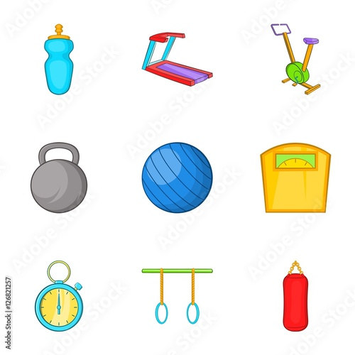 Quot exercise room icons set cartoon illustration of