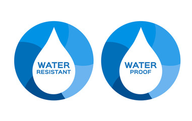 Water resistant and water proof logo , icon and vector . blue Water version