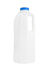Plastic milk gallon container isolated on white
