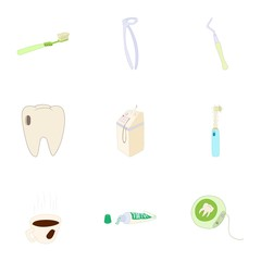 Dentistry icons set. Cartoon illustration of 9 dentistry vector icons for web