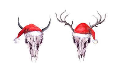 Deer, bull animal skulls, red santa hats. Christmas watercolor