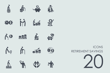 Set of retirement savings icons