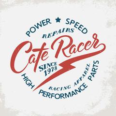 Cafe Racer. Motorcycle signs on grunge background. Design element for t-shirt print, poster, emblem, badge, sign.
