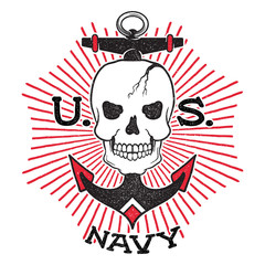 Old school US Navy design. Skull with an anchor on a background of the sun rays. Isolated on white background.
