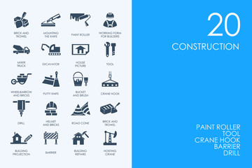 Set of BLUE HAMSTER Library construction icons
