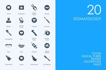 Set of BLUE HAMSTER Library stomatology icons