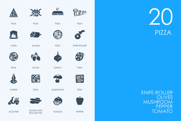Set of BLUE HAMSTER Library pizza icons