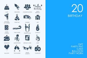 Set of BLUE HAMSTER Library birthday icons