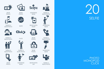 Set of BLUE HAMSTER Library selfie icons