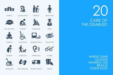 Set of BLUE HAMSTER Library people with disabilities icons