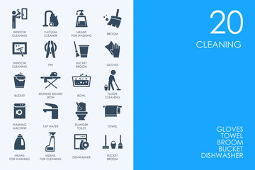 Set of BLUE HAMSTER Library cleaning icons