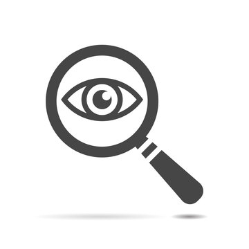 Icon eye with a magnifying glass.