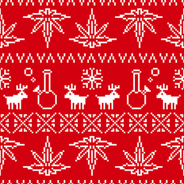 Pixel art christmas weed seamless vector background red