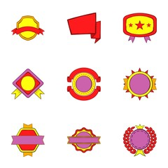 Tag icons set. Cartoon illustration of 9 tag vector icons for web