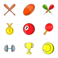 Sports accessories icons set. Cartoon illustration of 9 sports accessories vector icons for web