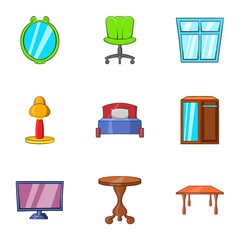 Furniture icons set. Cartoon illustration of 9 furniture vector icons for web