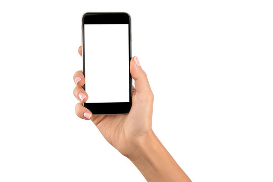 hand holding cellphone with white screen at isolated background