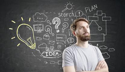 Bearded man near business idea sketch on blackboard